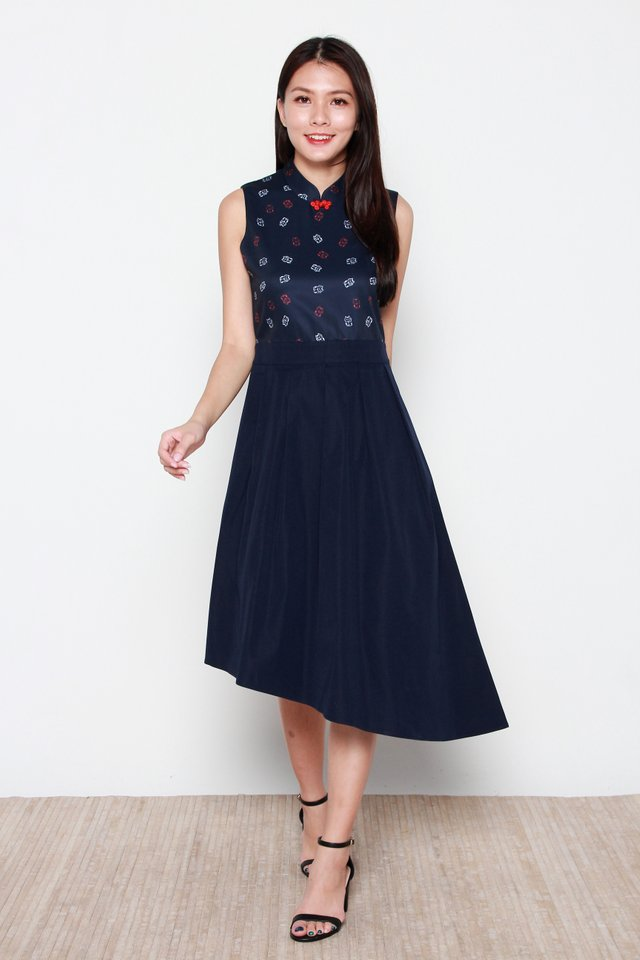 Akemi Kitten Motif Colorblock Cheongsam Dress in Navy Blue