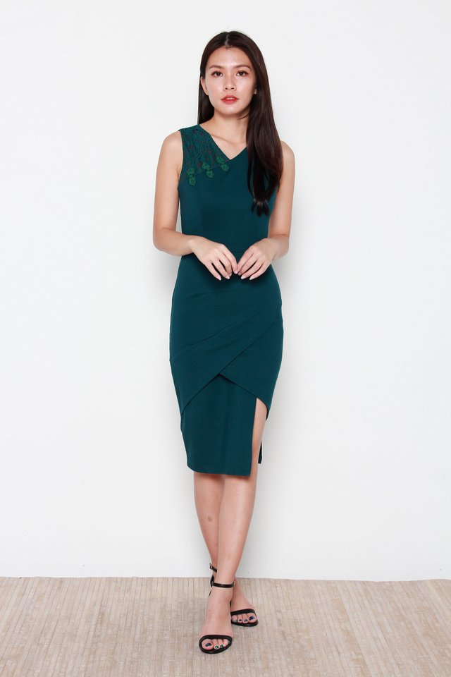 Nariko Asymmetric Dress in Forest Green