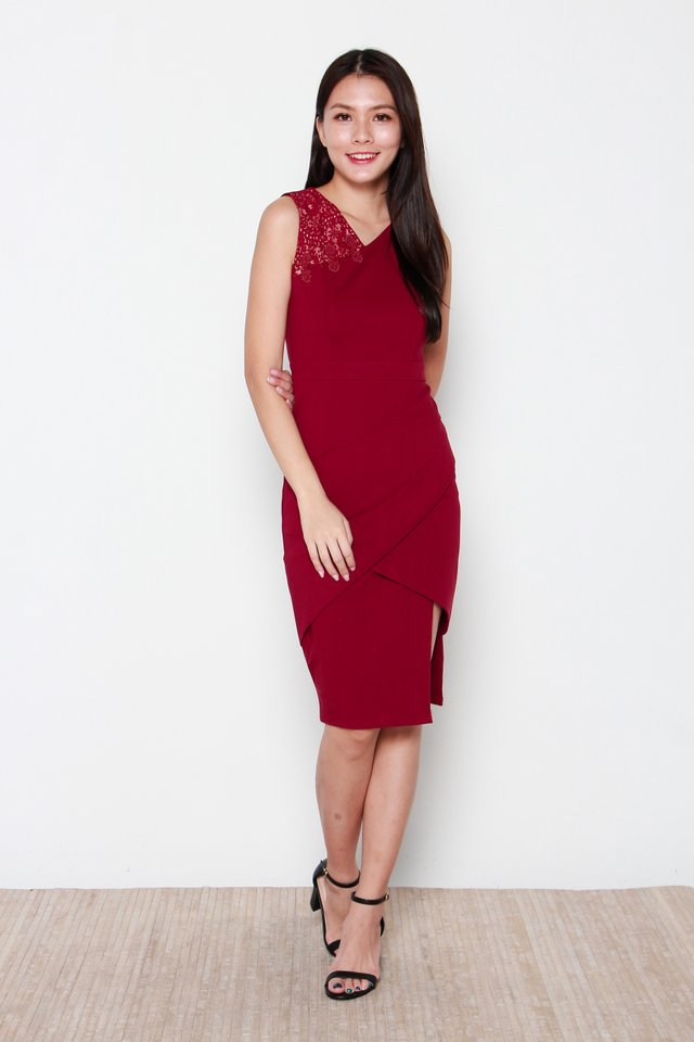 Nariko Asymmetric Dress in Wine