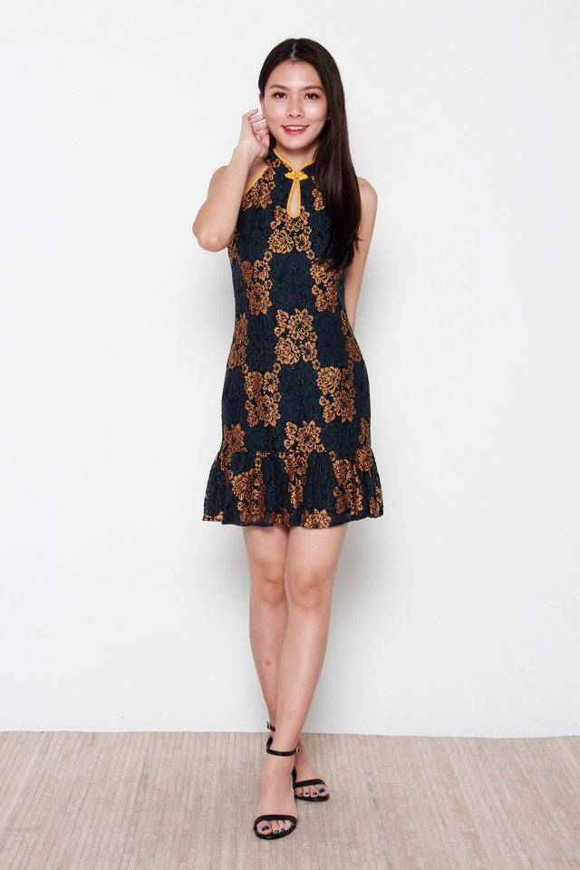 Kwan Cut-In Keyhole Duo Colour Lace Cheongsam Dress in Gold/Black