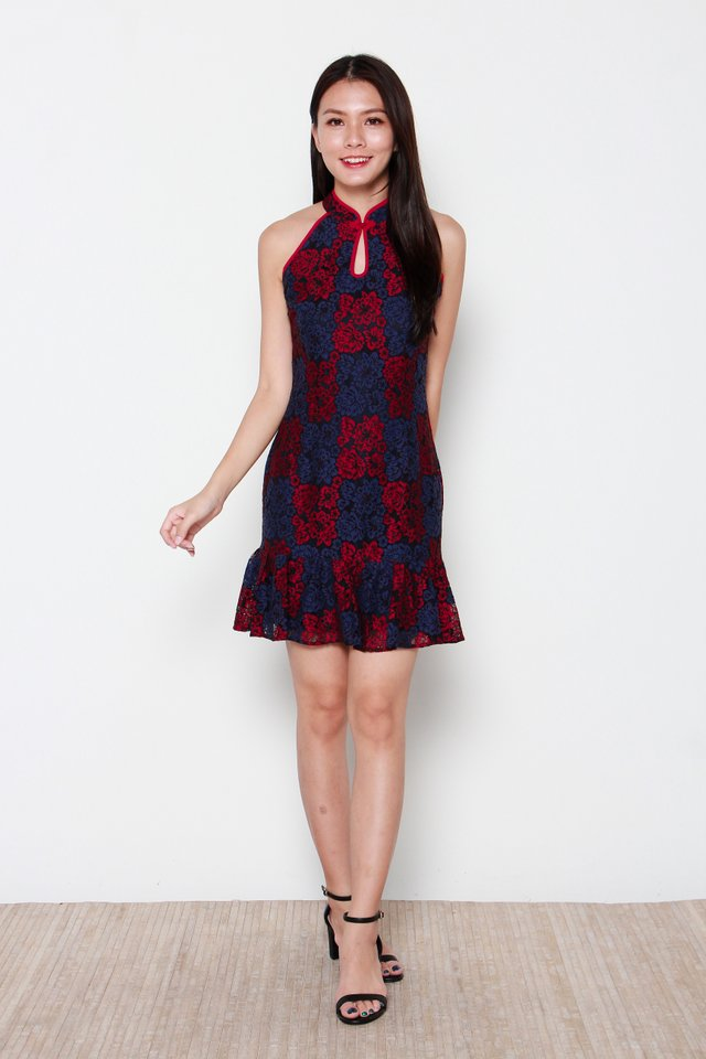 Kwan Cut-In Keyhole Duo Colour Lace Cheongsam Dress in Red/Blue
