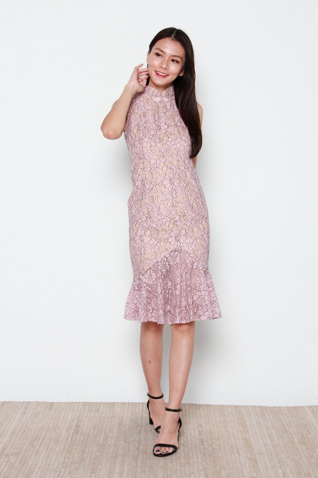 Aiko Lace Mermaid Removable Oriental Collar Dress in Nude Pink