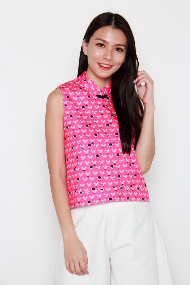 Mr Mouse Motif Oriental Collar Top in Pink