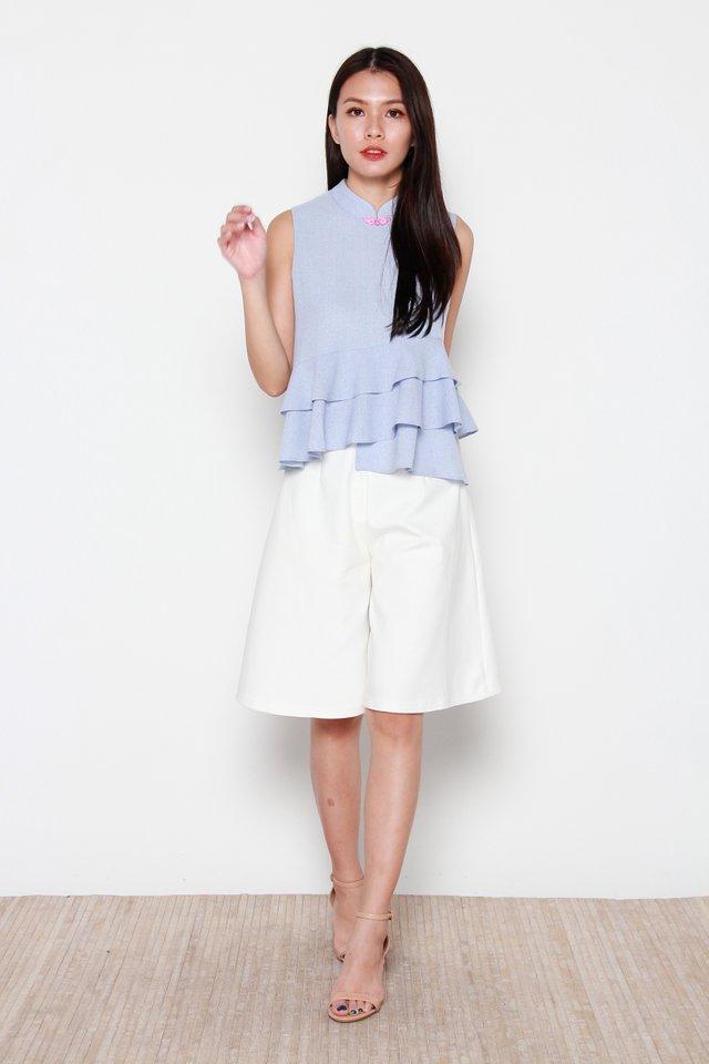 Kristi Asymmetrical Layered Ruffle Top in Blue