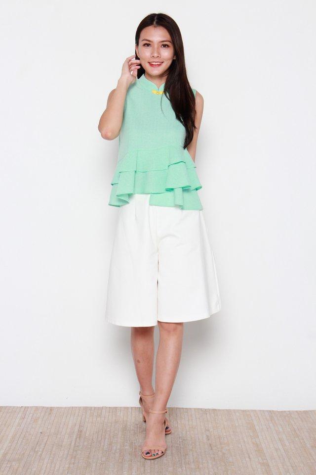 Kristi Asymmetrical Layered Ruffle Top in Green