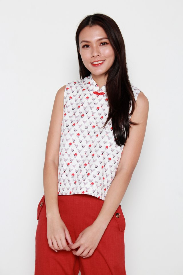 Mr Mouse Motif Oriental Collar Top in White