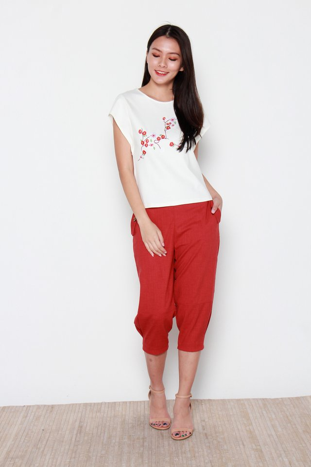Sakura Embroidery Top in White