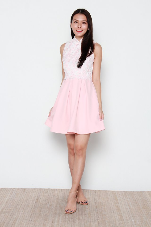 Saburo Crochet Skater Cheongsam Dress in Pink