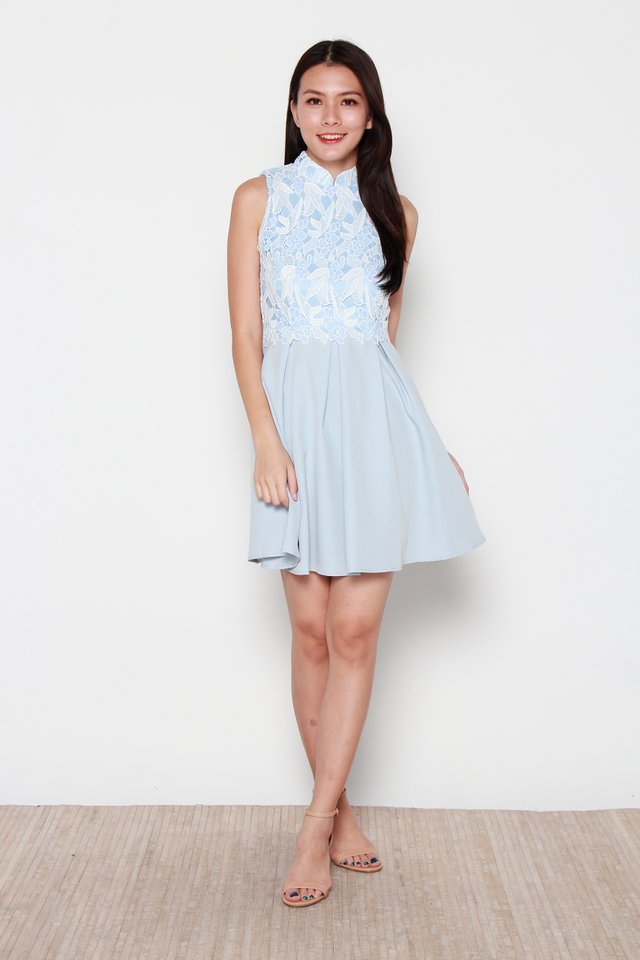 Saburo Crochet Skater Cheongsam Dress in Blue