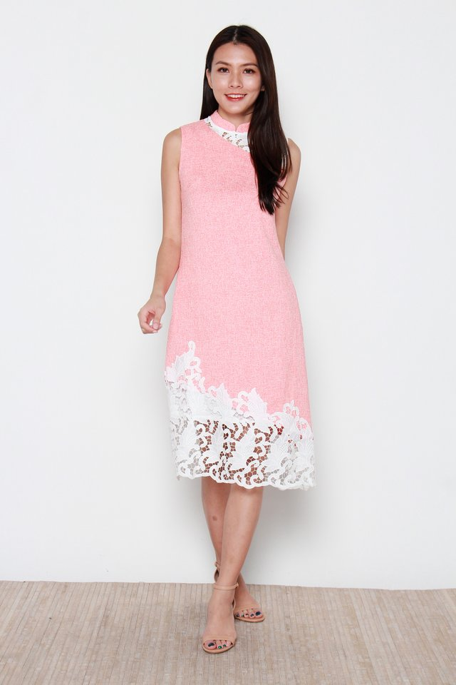 Coral Asymmetrical Lace Removable Collar Cheongsam Dress