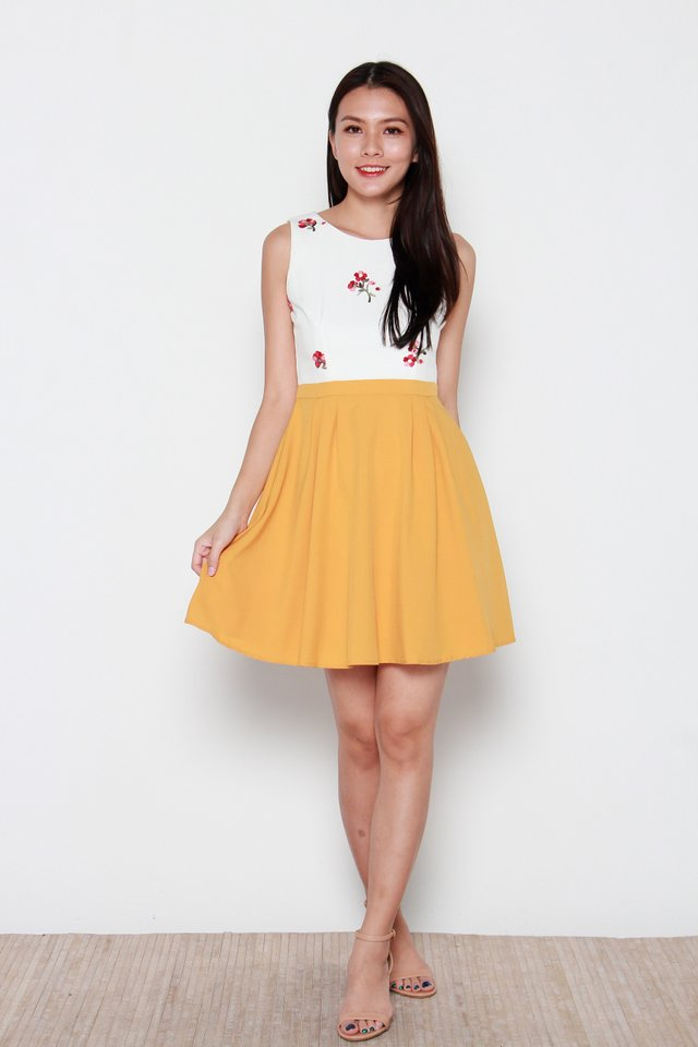 Naoki Faux Two-Piece Floral Dress in White/Yellow