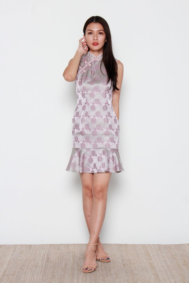 Amida Classic Embossed Mermaid Cheongsam Dress in Pink