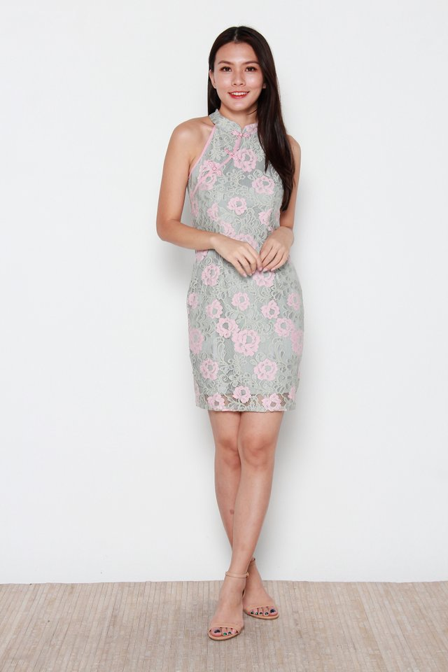 Munni Cut-In Duo Colour Lace Cheongsam Dress in Pink
