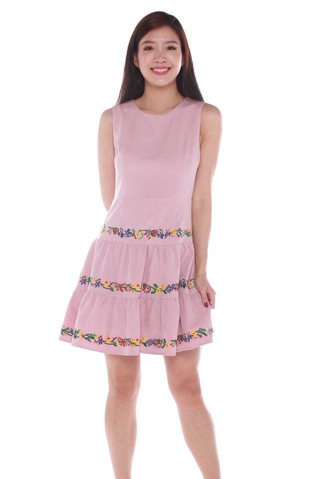 Sylvie Embroidery Skater Dress in Pink