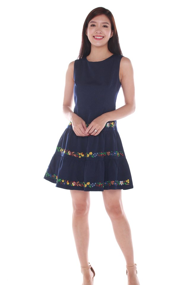 Sylvie Embroidery Skater Dress in Dark Blue