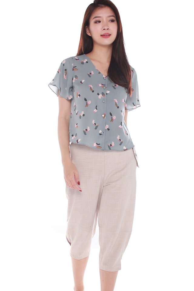Victoria V-neck Buttoned Top in Grey Blue
