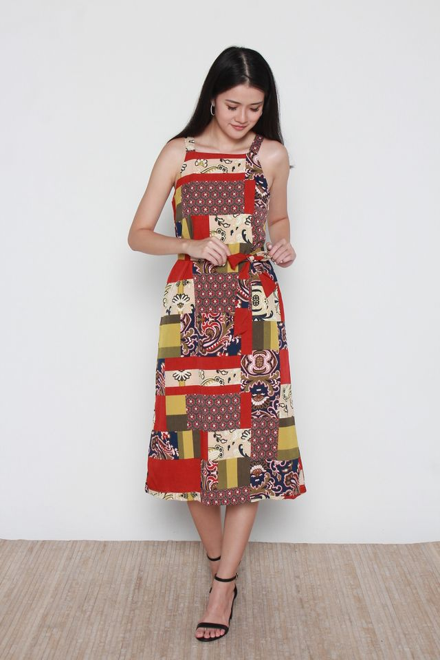 Ximena Strap Square Neck Motif Printed Dress in Red