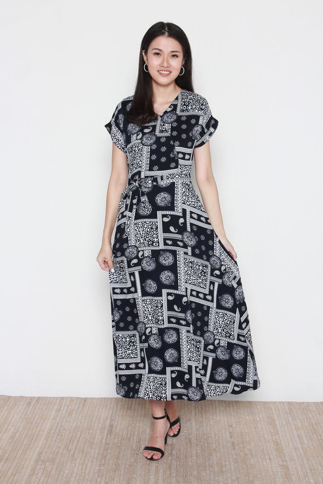 Brielle Motif Printed Midi Dress