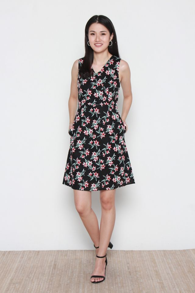 Wendy V-Neck Floral Dress in Black