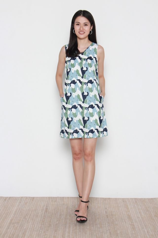 Laila Sleeveless Abstract Print Dress in Blue