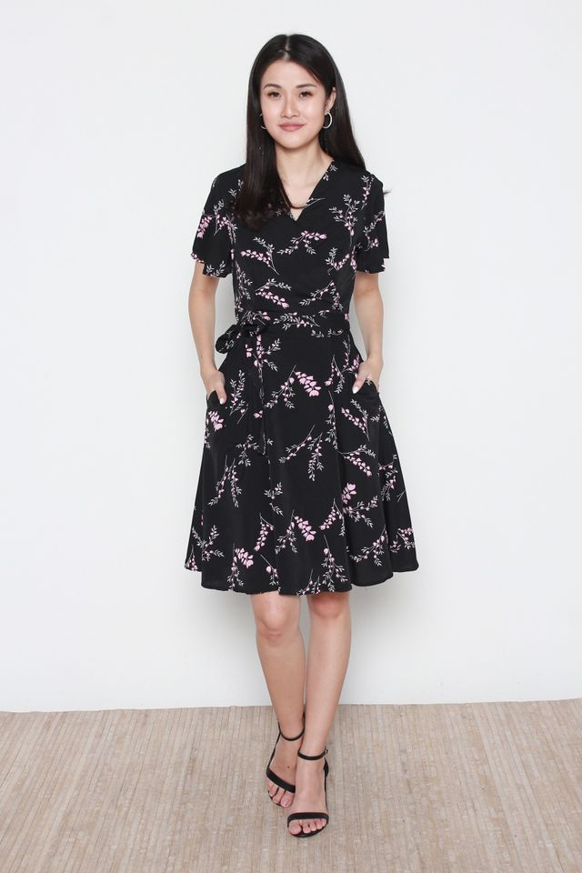 Delaney Floral Print Skater Dress in Black