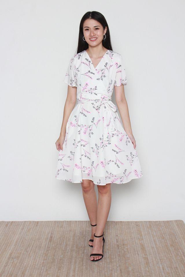 Delaney Floral Print Skater Dress in White