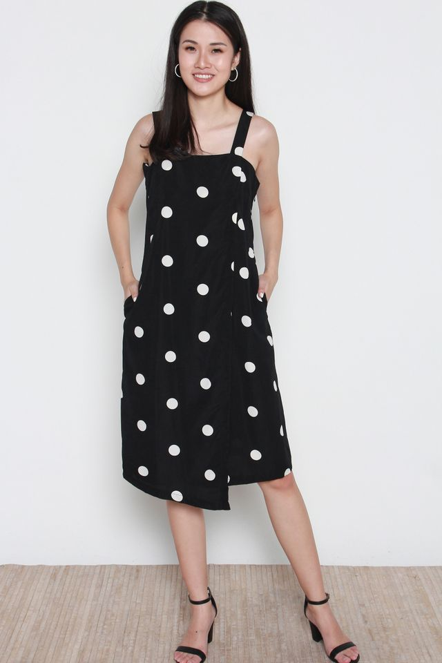 Arrington Thick Strap Polka Dots Wrap Dress