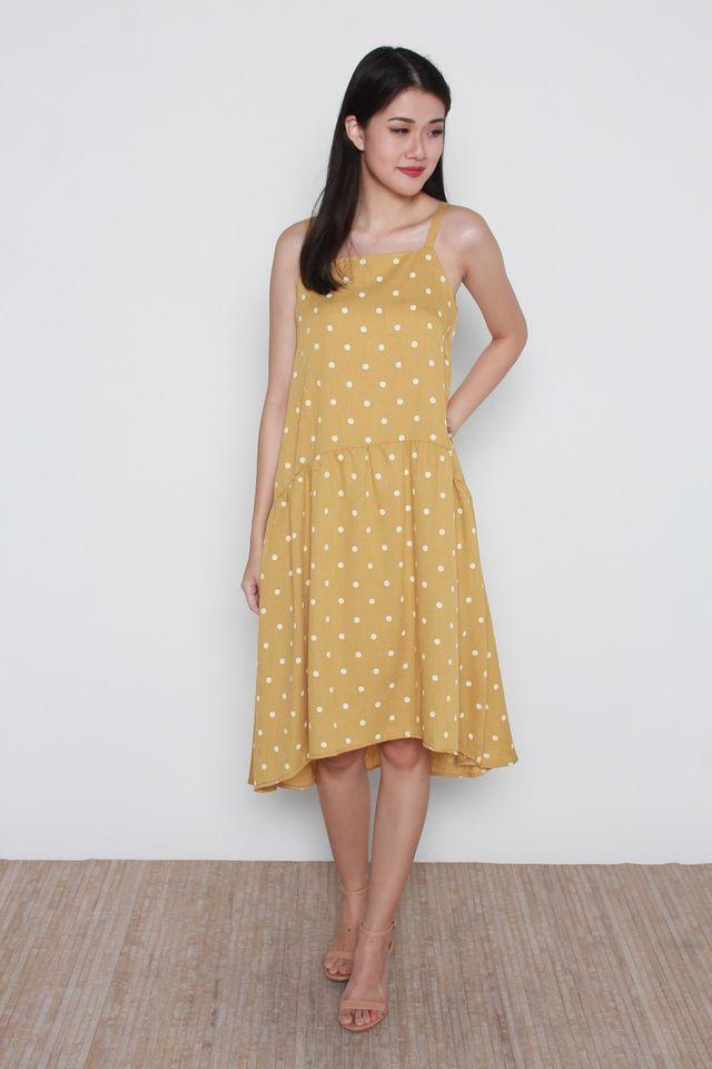 Arlena Square Neck Polka Dots Hi-Low Dress in Mustard
