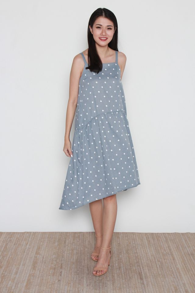 Arlena Square Neck Polka Dots Hi-Low Dress in Blue