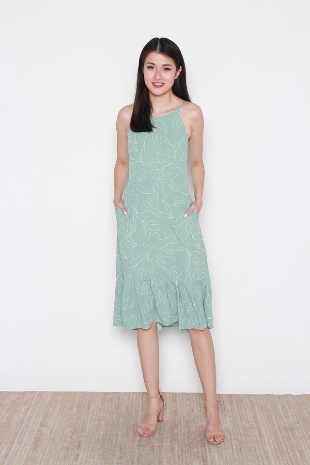 Stephie Floral Handdrawn Flutter Hem Halter Dress in Mint