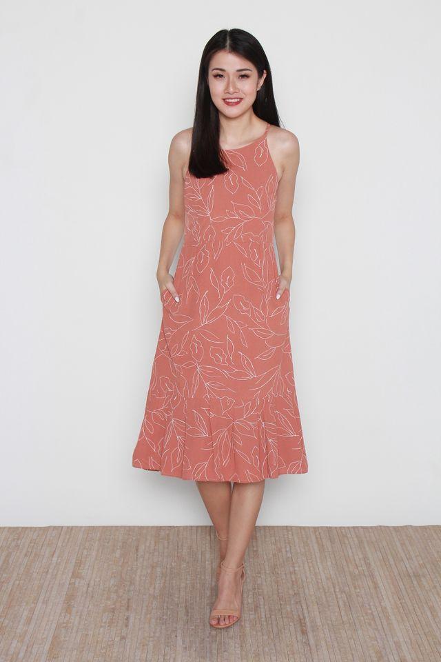 Stephie Floral Handdrawn Flutter Hem Halter Dress in Coral Pink