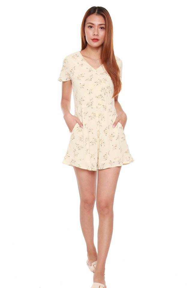 Julina Printed Leaves Romper in Beige