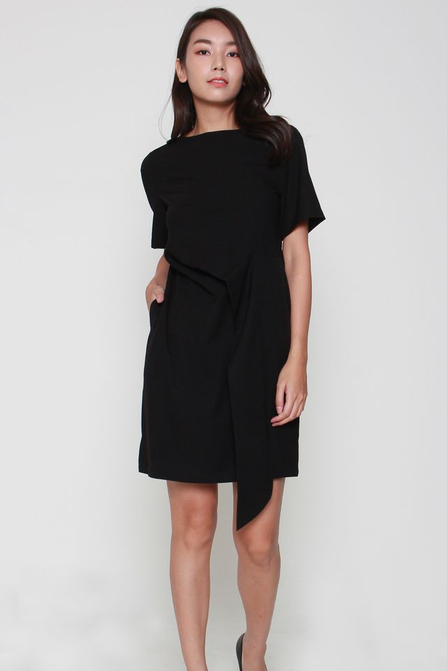 Sofia Cascade Midi Dress in Black