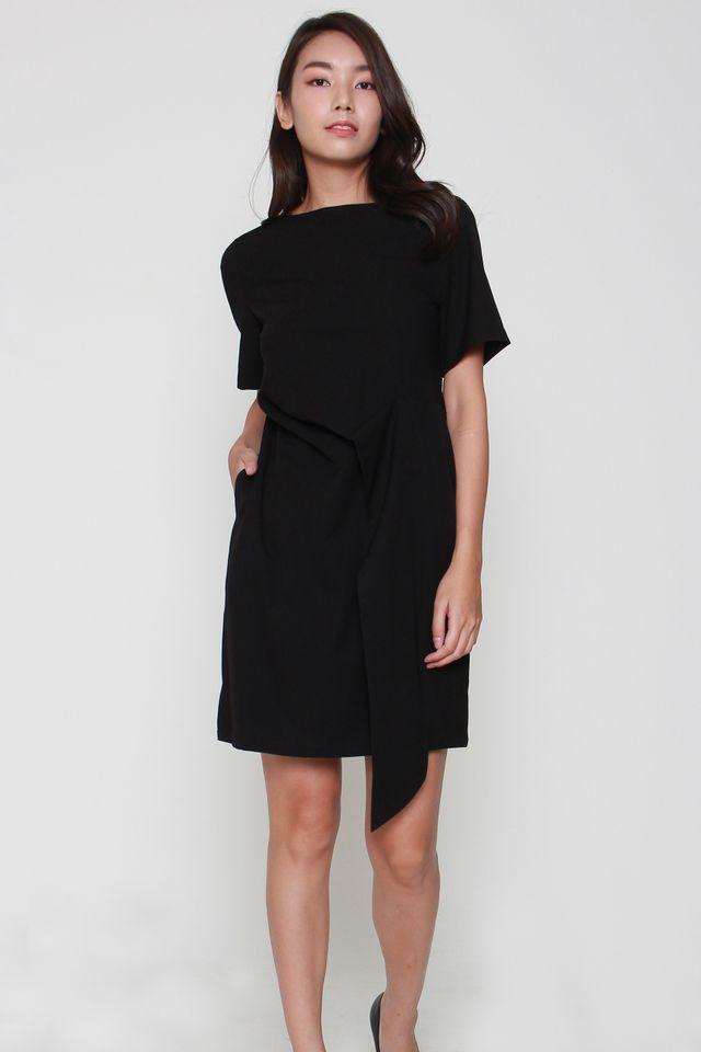 Sofia Cascade Midi Dress in Black