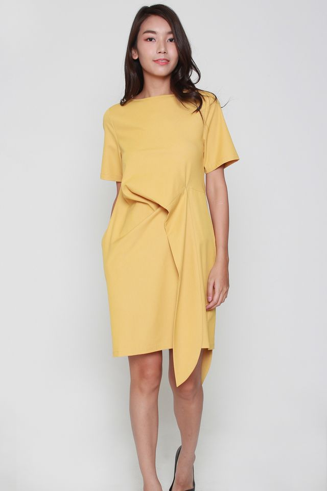 Sofia Cascade Midi Dress in Mustard