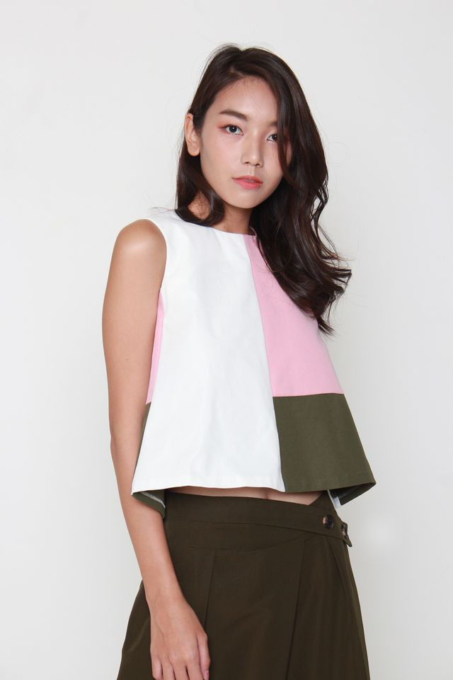 Regina Cropped Colorblock Top