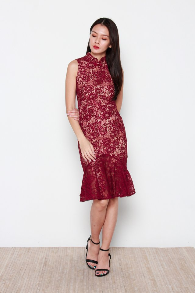 Aiko Lace Mermaid Removable Oriental Collar Dress in Wine