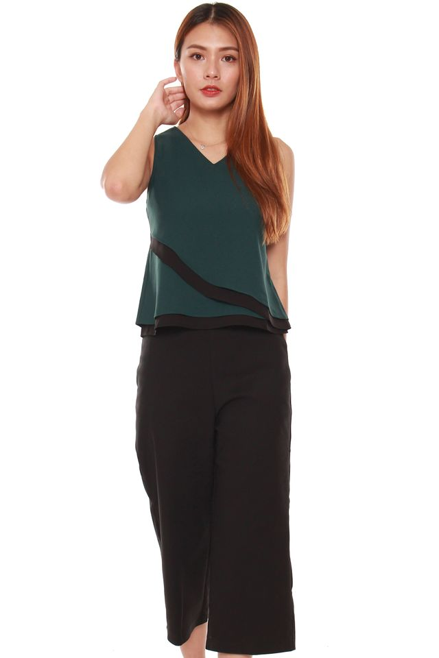 Kimora Layered Reversible Tank Top in Forest Green/Black