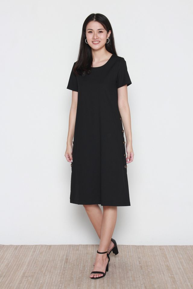 Micah Side Button Panel Midi Sleeve Dress in Black