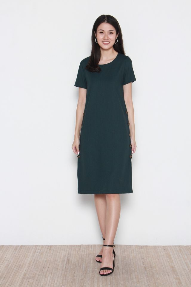 Micah Side Button Panel Midi Sleeve Dress in Forest Green