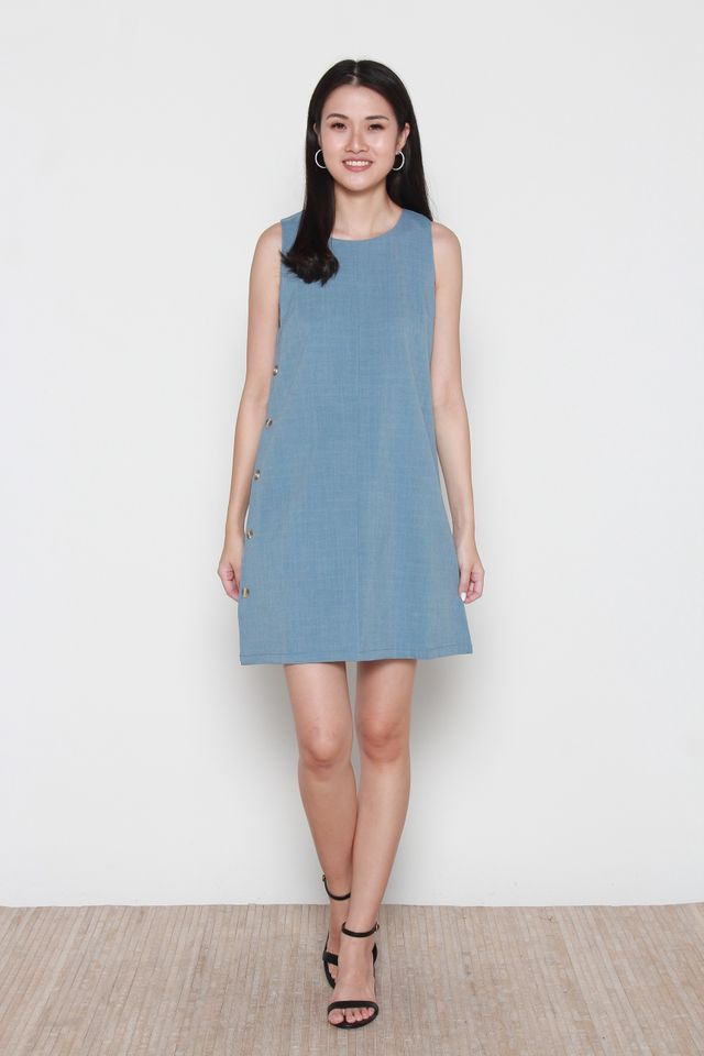 Novah Sleeveless Side Button Dress in Blue