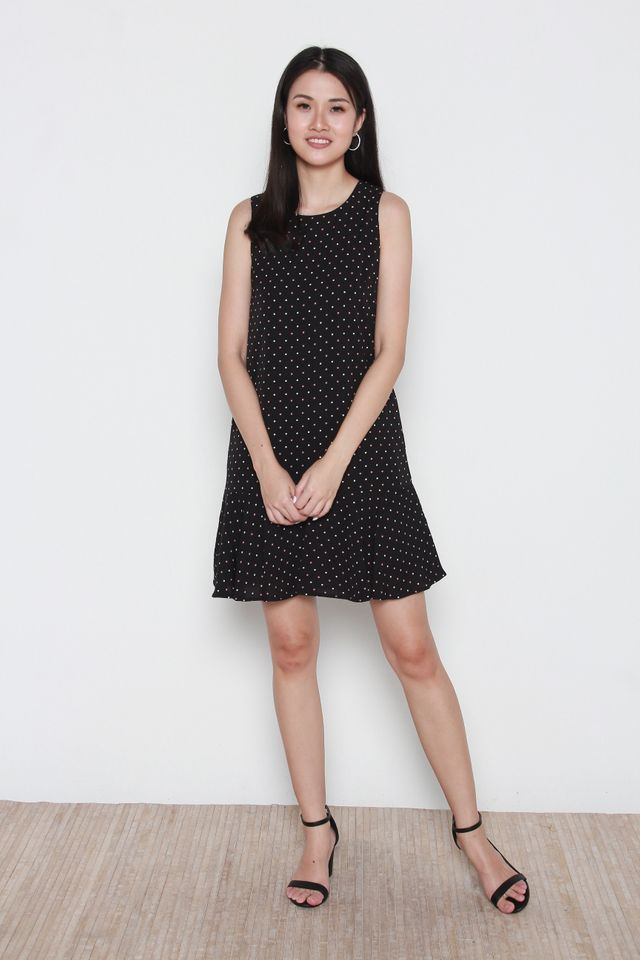 Beretta Polka Dots Flutter Hem Dress in Black