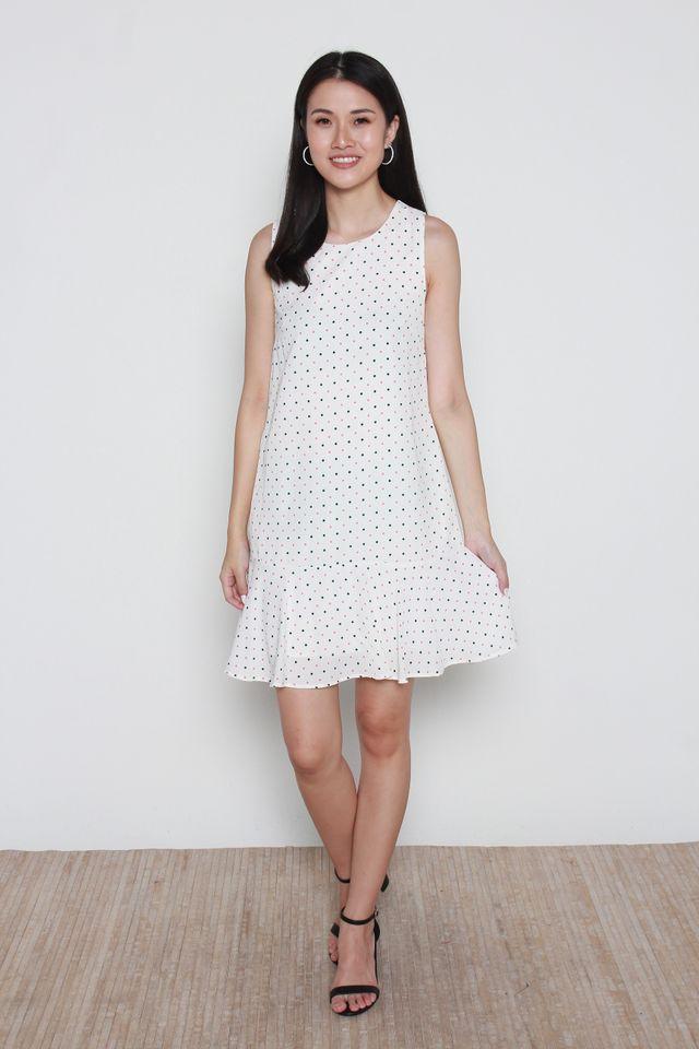 Beretta Polka Dots Flutter Hem Dress in White