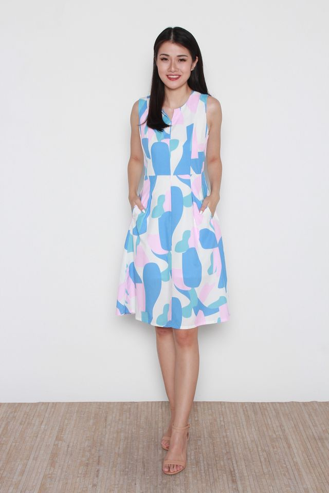Permelia Abstract Print Slit Neckline A Line Dress