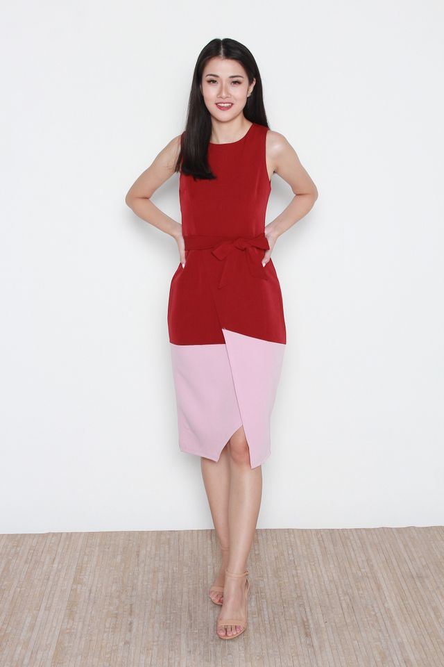 Austyn Colorblock Midi Dress in Red