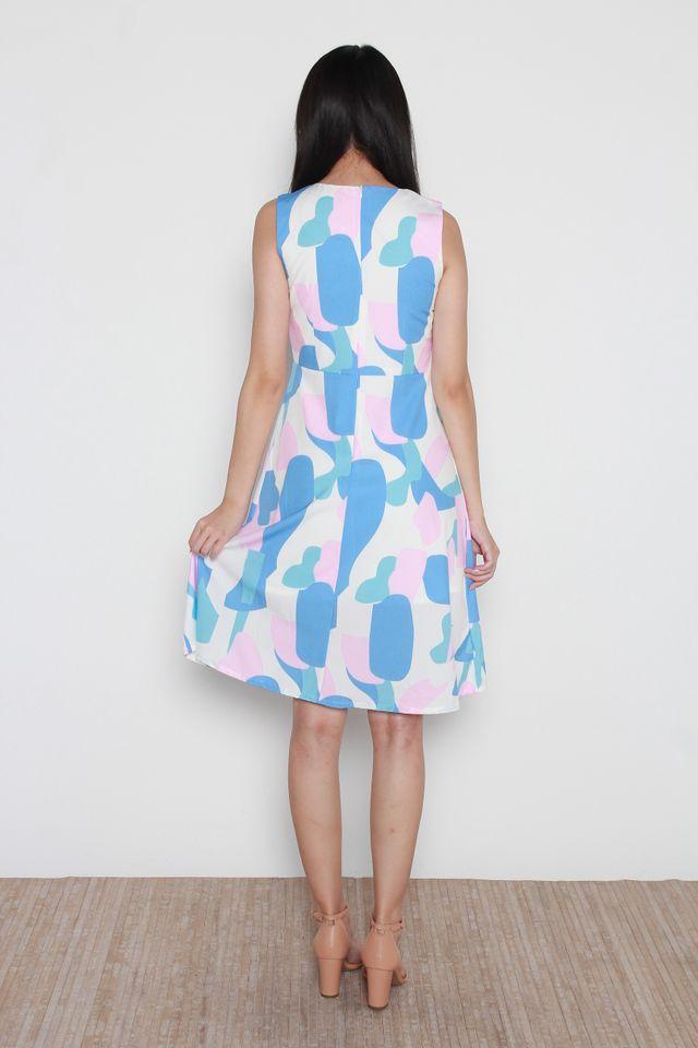Permelia Abstract Print Slit Neckline A Line Dress