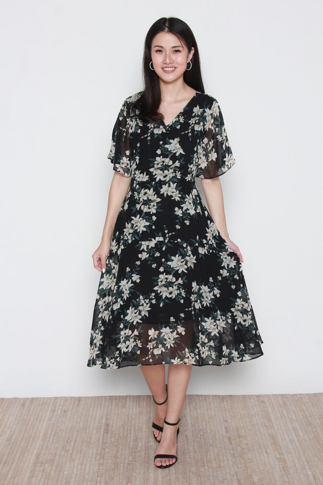 Angeline Floral Print With Flutter Sleeves Dress in Black