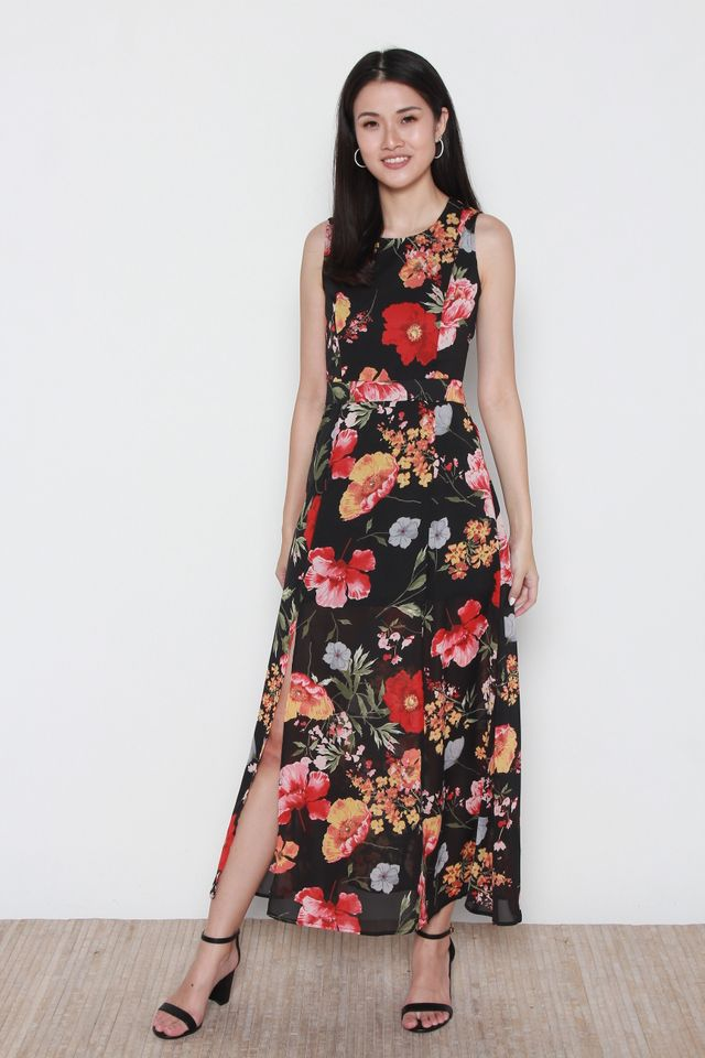 Leain Floral Maxi Dress in Black