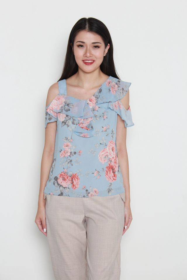 Ganni Cold Shoulder Floral Print Ruffled Top in Blue