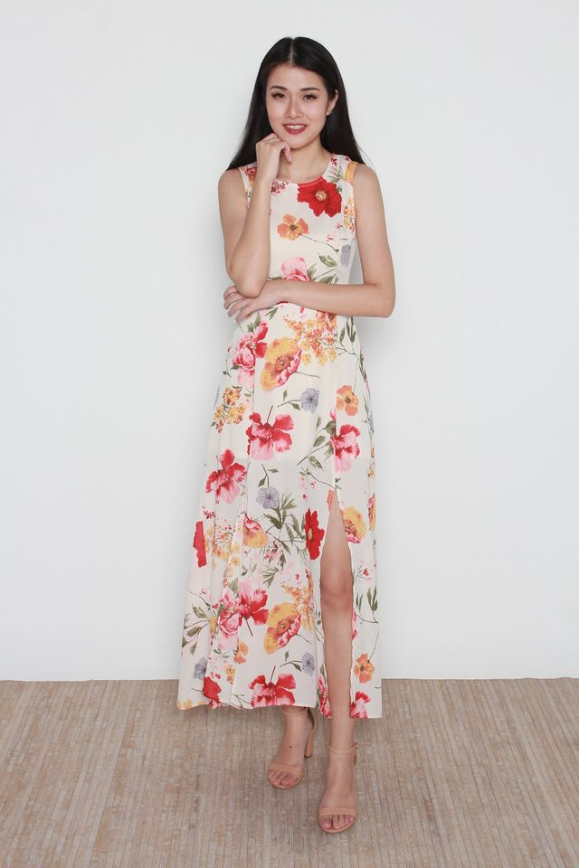 Leain Floral Maxi Dress in Cream